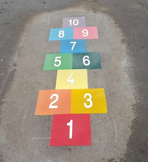 Multi coloured hopscotch created by BGS